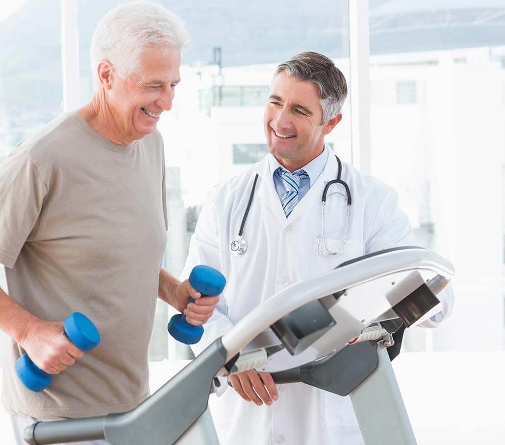 senior man and podiatrist
